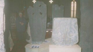Carved stones inside Kirk Michael church